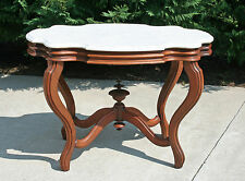 Large~ Victorian Walnut Turtle Shaped Marble Top Lamp Center Parlor Table c1880
