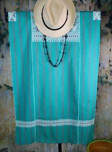 M/L Huipil Short Striped Dress Handwoven Green & Mauve Mayan Chiapas Mexico Boho