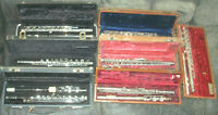 # LOT OF 7 # VINTAGE STUDENT FLUTE FLUTES ALL COMPLETE & PROBABLY NEED SOME WORK