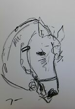 "JOSE TRUJILLO - OIL PASTELS Painting ABSTRACT Minimalism 13X19"" HORSE NEW ART"