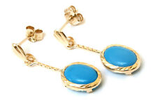 9ct Gold Oval Turquoise drop dangly Earrings Gift Boxed Made in UK Christmas