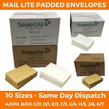 MAIL LITE LITES WHITE GOLD PADDED BUBBLE ENVELOPES / BAGS ALL SIZES POST MAILER