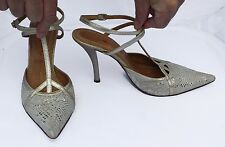 Miss Sixty Pale Gold & White Snake Print Leather Shoes with Ankle Strap Sze 6/39