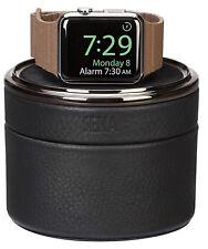 Estuche de viaje de cuero genuino de SENA y soporte para Apple Watch-Negro de Lujo Elegante