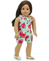 "Floral Romper Aqua Shorts Doll Clothes For 18"" American Girl Doll"