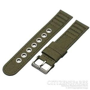 Citizen 20mm Watch Band for Eco-Drive AT0200-05E H500-S026989 Green Canvas Strap