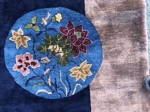 Auth: 20's Antique Art Deco Chinese Rug    Elegant  Plush  Beauty Blue 11x13  NR