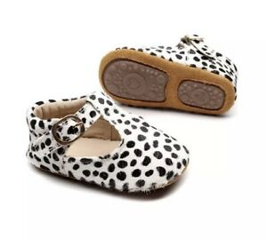 Baby Girl Animal Spotty Black And White Shoes 12-18 Months