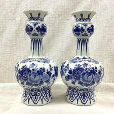 Paar Von Antik Delft Töpferei Blau Weiß De Porceleyne Fles Handbemalt Signiert