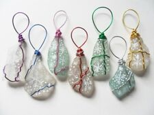 Hand painted snowflake set of 7 hand crafted sea glass decorations - multicolour