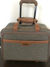 Hartmann Luggage Tweed Leather Rolling Roller Carry On Weekend Bag EUC
