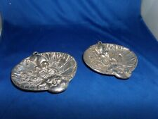 PAIR SILVER PLATE DISHES CHINESE PUG DESIGN C.1920