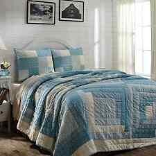 SEA COTTAGE 4 PC KING QUILT SET QUILT LUXURY SHAM BED SKIRT BLUE CREAM LOG CABIN
