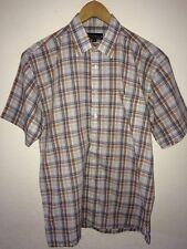 Champion Short Sleeve Shirt Tan/Stone Mix Check Size M <R5520