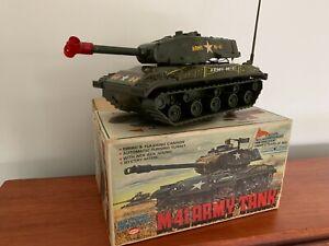 Vintage Asahi Corporation Tin Toy M-41 Army Tank Battery Operated Tokyo Japan