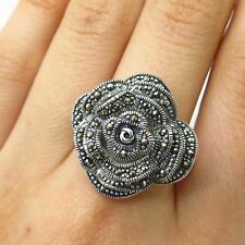 925 Sterling Silver Real Marcasite Gem Rose Floral Design Wide Ring Size 11