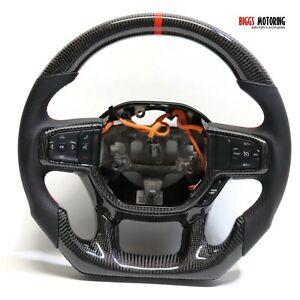 Fits 19-20 Dodge Ram Custom Carbon Fiber & Leather Flat Bottom Steering Wheel
