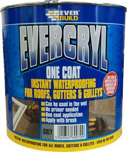 Everbuild EVERCRYL One Coat Instant Roof Gutter Gulley Repair 2.5kg & 5kg