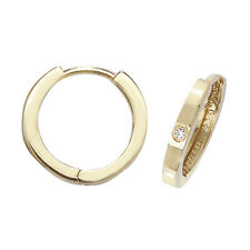 Genuine 9ct Yellow Gold CZ Solitaire Hinged Hoop Earrings - Gift Boxed