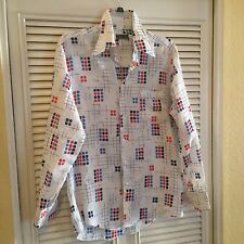 Vintage 1970s Disco Longsleeve Polyester Shirt Squares Geometric Hippy Hippie