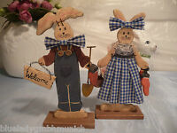 Figur Hasen H:20cm 2er SET Welcome HOLZ Easter Bunny Figurine Lapin de Pâque