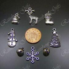 8 Mixtos Navidad Adornos De Plata Tibetana Dijes 3d Santa Arbol Muñeco de nieve renos