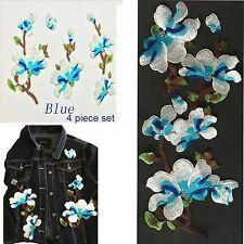 Blue Flower Sew on patch set of 4 flower floral plant blossom embroidery patches