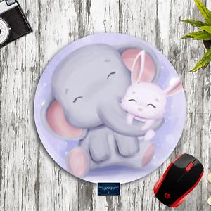 "ELEPHANT BUNNY ART PURPLE 8"" ROUND PC MOUSEPAD DESK MAT HOME OFFICE SCHOOL GIFT"