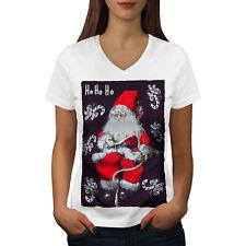 Wellcoda Santa Cute Toy Womens V-Neck T-shirt, Christmas Graphic Design Tee