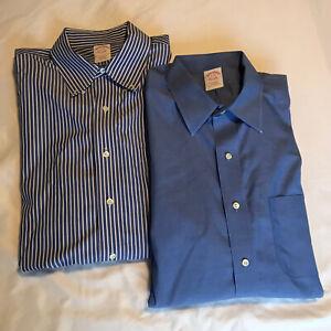 BROOKS BROTHERS Lot of 2 Blue/ Blue Striped Tradional Fit Dress Shirts 17-35