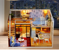 DIY Blue Time Dust Cover Wooden Dollhouse LED Furniture Kit Kid Christmas Gifts