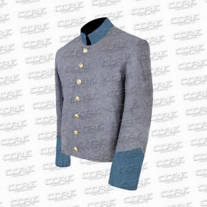 Civil War Confederate Infantry Shell Jacket, Grey jacket/ blue cuff - All Sizes