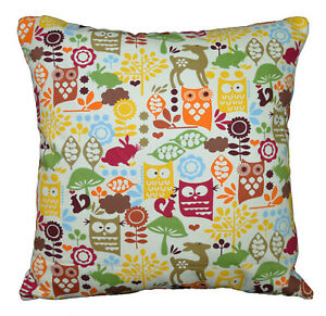 LL08a Orange Olive Yellow Owl On Beige Cotton Canvas Fabric Cushion/Pillow Cover