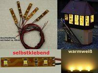 S330 - 10 Stück LED Hausbeleuchtung warmweiß mit Kabel für Häuser Gebäude Autos