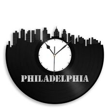 Philadelphia Vinyl Wall Clock Cityscape Travel Gift Home Bedroom Decor Exclusive