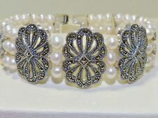VINTAGE STYLE!! 3 Row 5mm Pearl & Marcasite Bracelet, Solid Sterling Silver 925