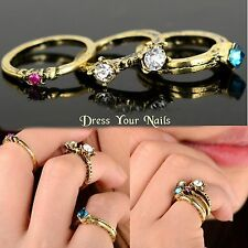 Knuckle Midi Mid Stacking Finger Ring Set Bronze Crystal  Punk Rock Rings