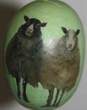 gourd Easter egg or Christmas ornament with black sheep and white sheep