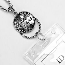 Cross Faith Pendant ID Badge Name Tag Key Card Holder Necklace Lanyard Christian