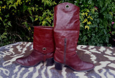 Veronella Burgundy/Red Leather foldover boots UK size 6 EU 39