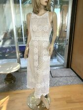 Lim'S Vintage All Hand Crochet Maxi Dress, One Of A Kind, size M, White