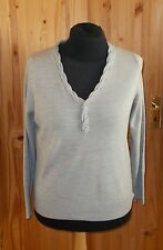 PER UNA M&S grey knitted long sleeve button twist neck jumper sweater top 18 46