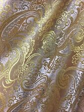 BLUSH GOLD METALLIC PAISLEY BROCADE FABRIC (60 in.) Sold By The Yard