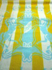 Giorgio Beverly Hills Beach Towel Yellow & White Stripes Blue Logo New