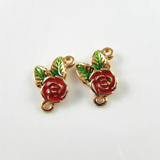 10pcs Jewelry Making Enamel Alloy Gold Rose Flower  Pendants Charms Crafts 52908