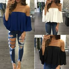 Women off Shoulder Lace Strapless Chiffon T-shirt Casual Loose Top Tank Blouse Blue L