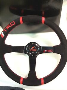TRD Double Red Strips Style 350mm Black Deep Dish Suede Leather Steering Wheel