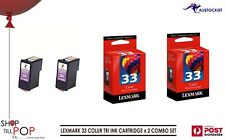 LEXMARK 33 TRI - Colour RED-YELLOW-BLUE  2  Pack Combo BNIB  PRINTER IMAGES