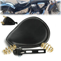 "Leather Motorcycle 3"" Spring Solo Bracket Cushion Seat For Harley Chopper Bobber"