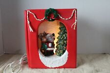 Vintage Musical Christmas Ceramic Book Open to lighted ceramic tree Santa deer